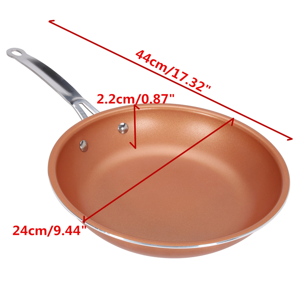 CopperWareZ™ 9 Inch Red Copper Frying Pan Copper Non Stick Pan