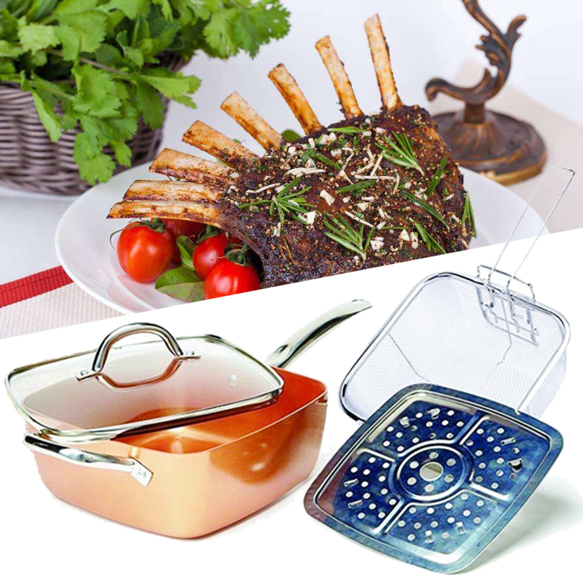 CopperWareZ™ Copper Square Frying Pan With Lid 4 Piece Set Square Copper Pan Non Stick Pan
