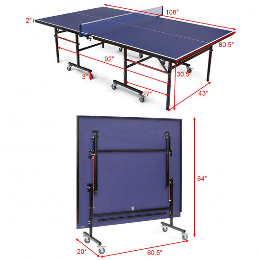 SpinHook™ Foldable Ping Pong Table Foldable Table Tennis Table