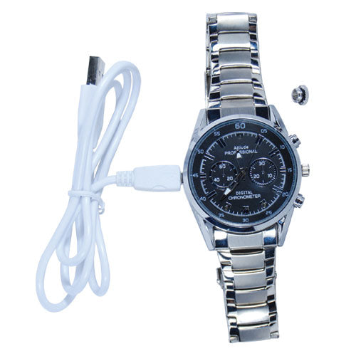 WatchEN™ Watch Camera Video Camera Watch With DVR Silver Band