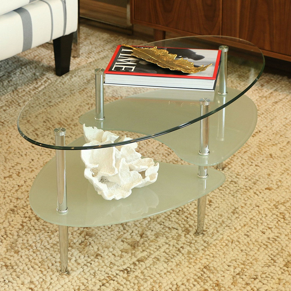 OfficeMateZ™ Oval Glass Coffee Table Modern And Stylish Oval Glass Top Coffee Table