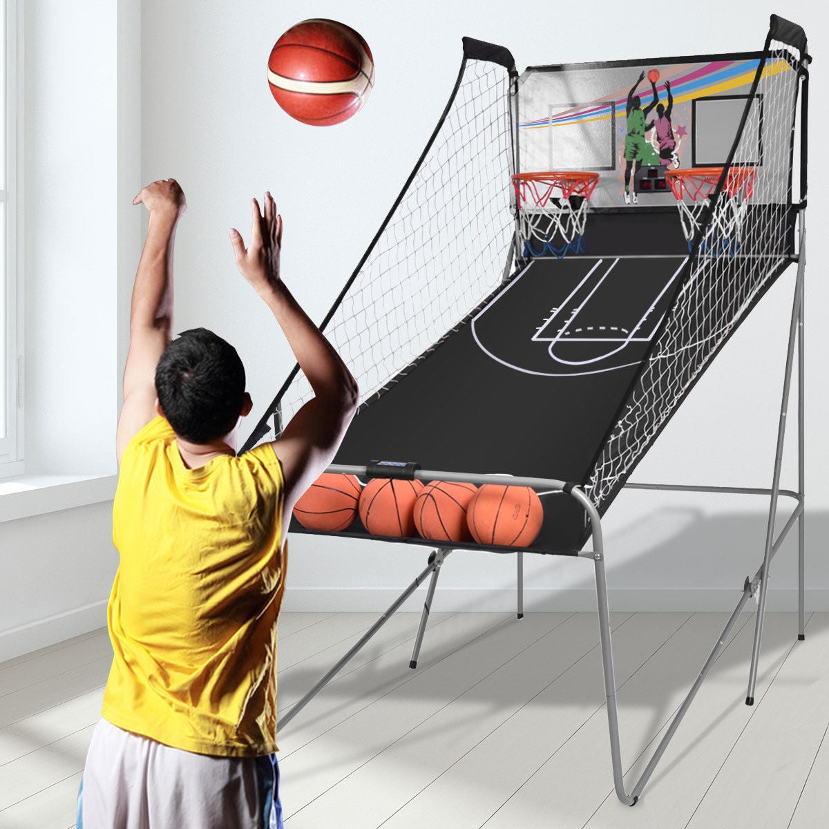 HoopMatic™ Indoor Basketball Hoop Electronic Indoor Hoops 2 Players With Balls