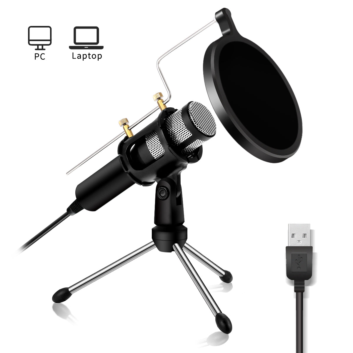 MicMX™ USB Condenser Mic USB Microphone For Vocals Recording Podcast Conference