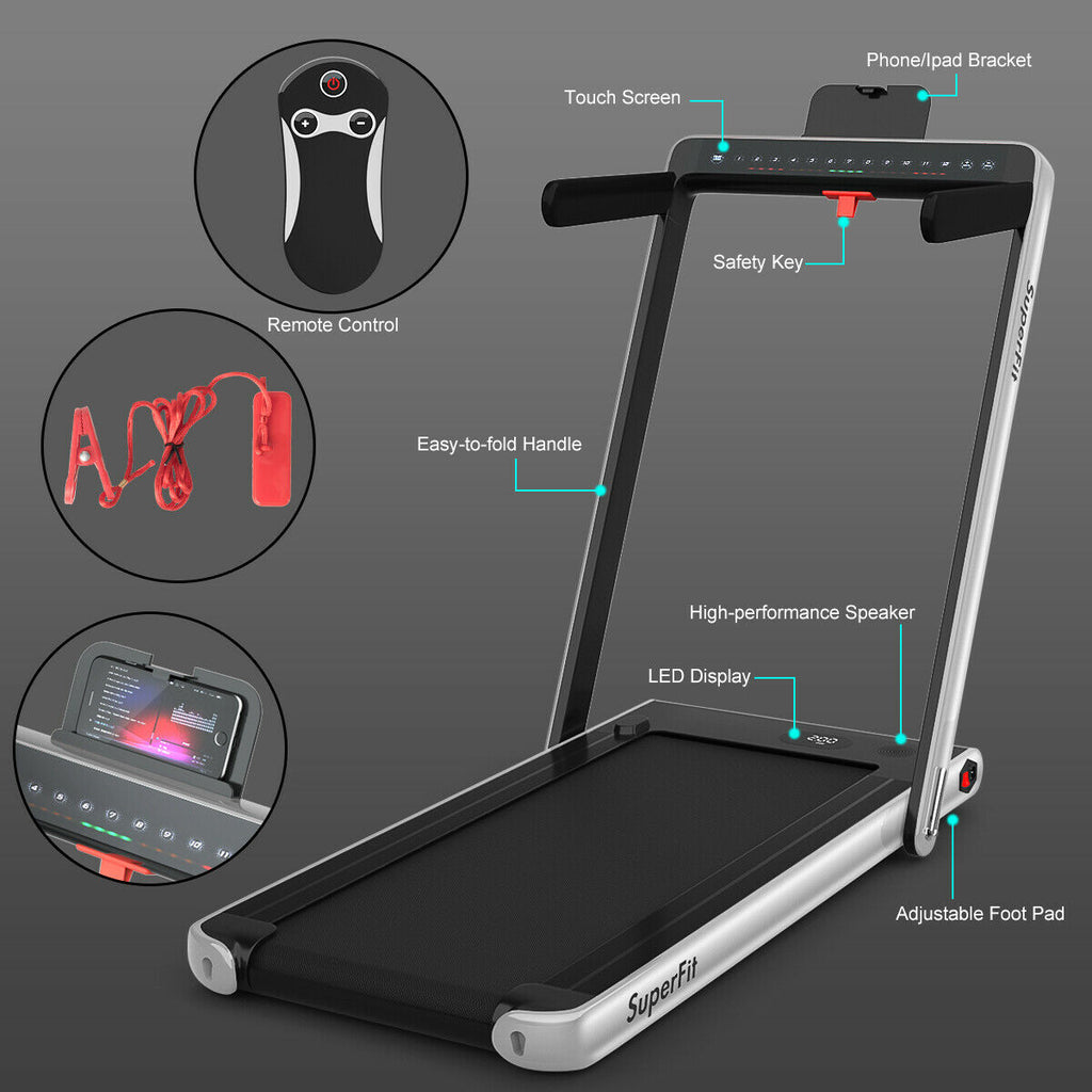 SuperFit Folding Treadmill 2-In-1 Foldable Treadmill Portable Compact Walking Pad
