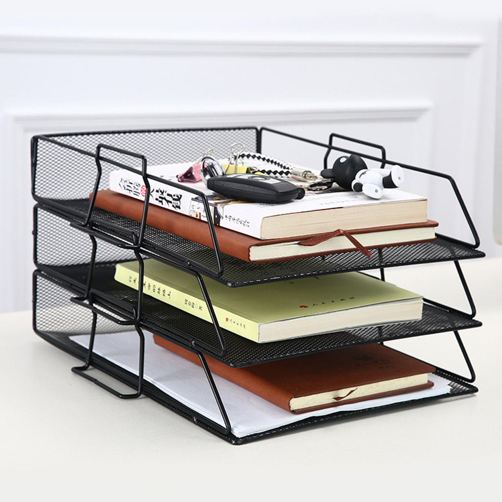 OfficeMateZ™ 3-Piece-Set Desk Organizer Tray Paper Tray Organizer Stackable Letter Trays Stackable File Trays
