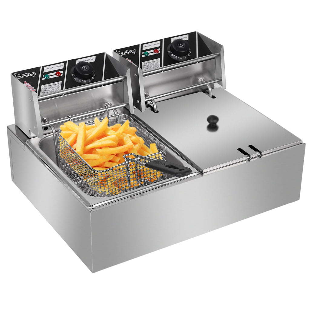 FryItDeep™ Electric Deep Fryer Countertop Deep Fryer Double Cylinder Electric Fryer