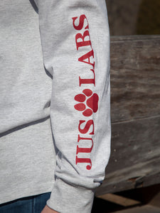 Black Lab w/ Red Collar-Long Sleeve-Ash Grey
