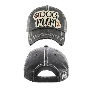 "Embroidered Vintage Distressed ""Dog Mom"" Hat - Black"