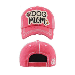 "Embroidered Vintage Distressed ""Dog Mom"" Hat - HOT PINK"