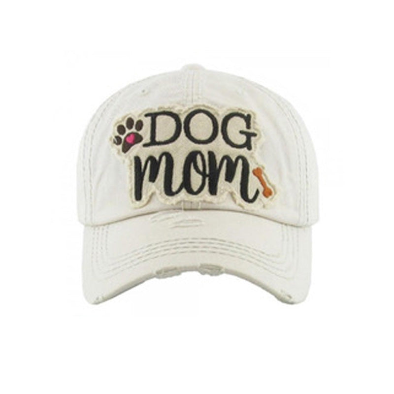 "Embroidered Vintage Distressed ""Dog Mom"" Hat - White"