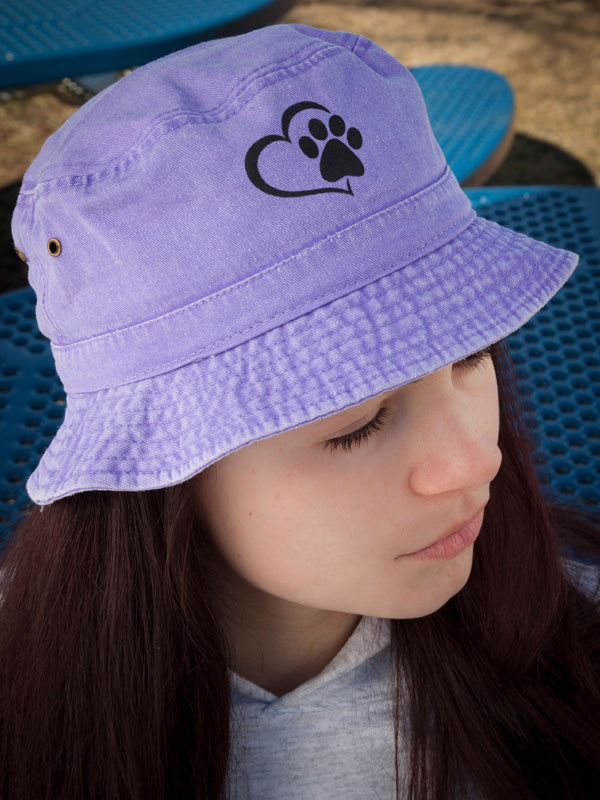 Youth Paw/Heart Bucket Hats