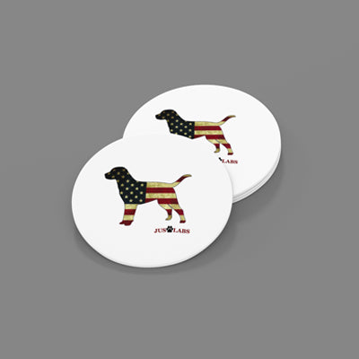 USA Labrador-Sandstone Car Coasters-Set of 2