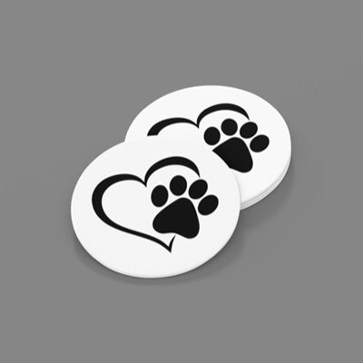Black Paw/Heart Sandstone Car Coasters-Set of 2