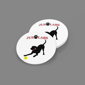 Black Lab w/ Red Collar-Sandstone Car Coasters-Set of 2