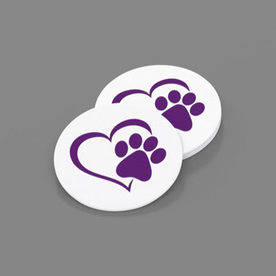 Purple Paw/Heart-Sandstone Car Coasters-Set of 2