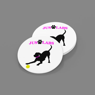 Black Lab w/ Purple Collar-Sandstone Car Coasters-Set of 2
