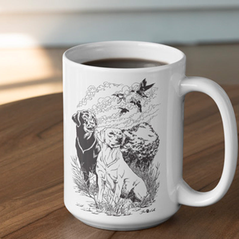 Handmade Ceramic Mug - Wildlife Black & Yellow Labrador Mug