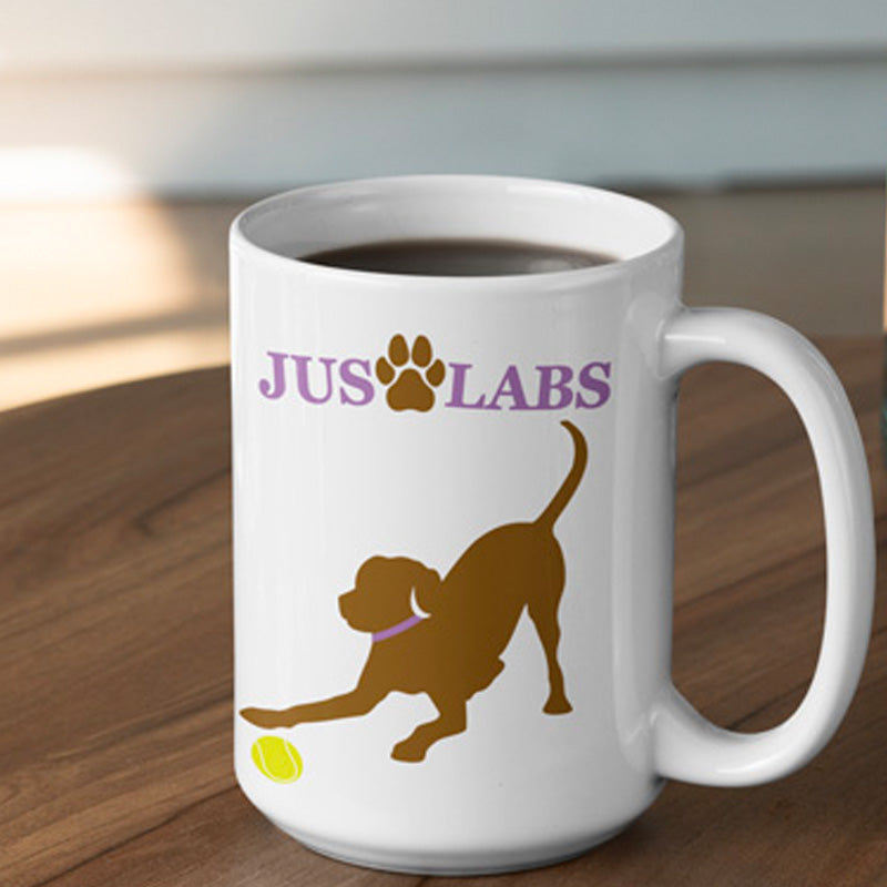 Handmade Ceramic Mug - Chocolate Lab w/ Purple Collar