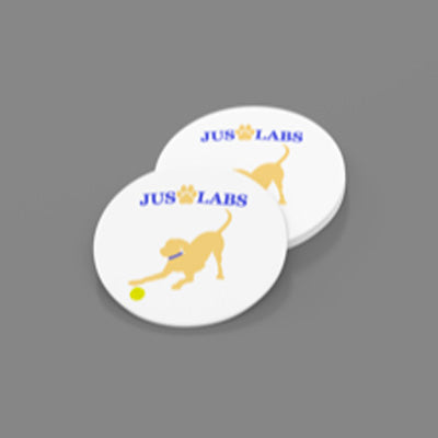 Yellow Lab w/ Blue Collar-Sandstone Car Coasters-Set of 2