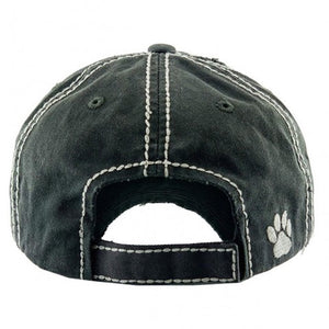 Black Vintage Distressed Paw Print Hat