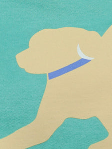 Yellow Lab w/ Lavender Collar - Mint Green