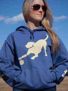 Yellow Lab Hoodie - Heather Blue