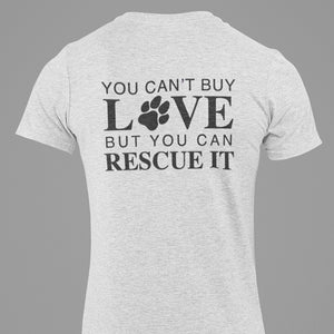 "Unisex ""Rescue Love"" w/ Black Paw- Ash Grey"