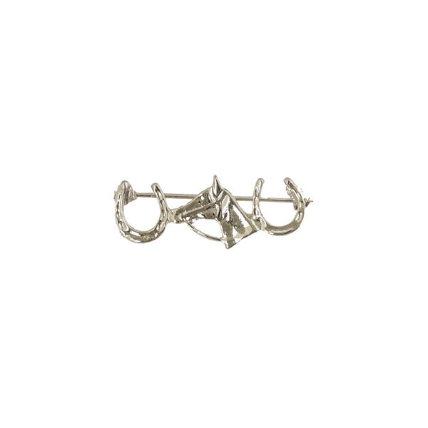 Silver Double Horse Shoe Pin