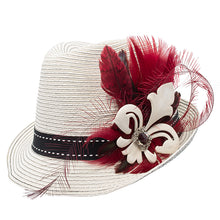 Load image into Gallery viewer, 2 tone trilby with red feather trim 66