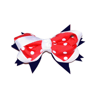 Red, Navy & White Spot Bow