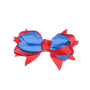 Extra Petite grossgrain  Red & Royal Hair Bow