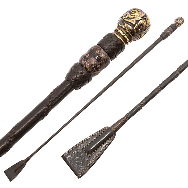 Brown riding crop with black brown deco bead bronze ball top