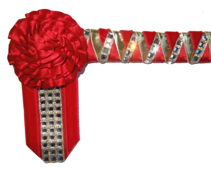 Gold & Red Velvet Browband