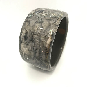 Grey Toned Decoupage Bangle