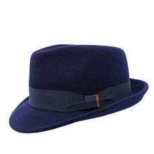 Load image into Gallery viewer, Navy Wool Felt Trilby