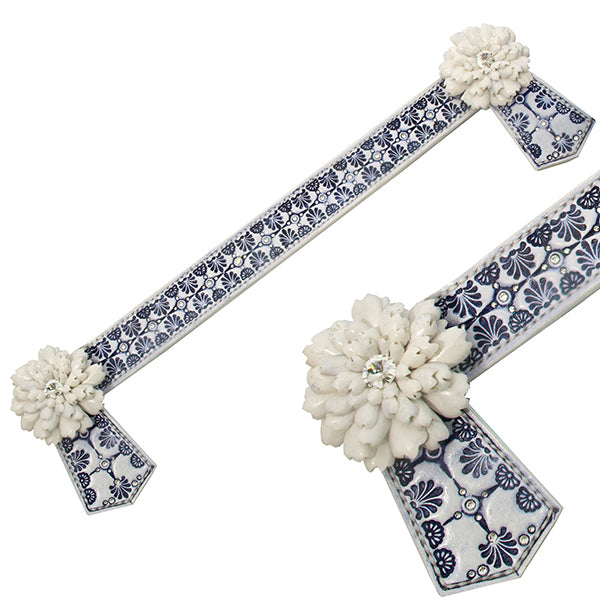 Navy and white leather browband