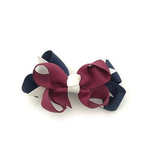 Navy White & Burgundy Bow Pair