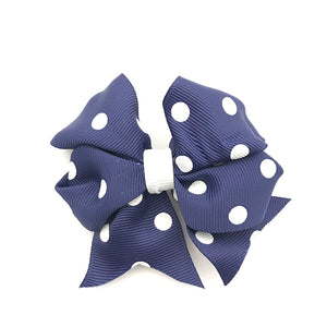 Navy & White Large Spot Bow Pair