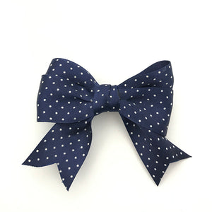 Navy & Small White Spot Bow