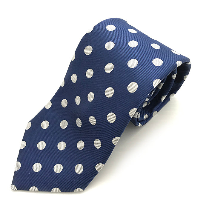 Navy & White Large Spot Tie