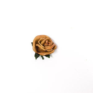Caramel leather rosebud lapel pin