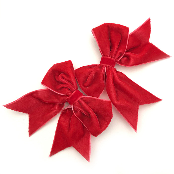Red Velvet Hair Bow Pair