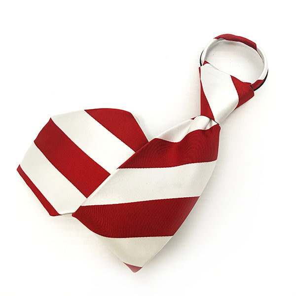 White & Red Broad Stripe Zipper Tie