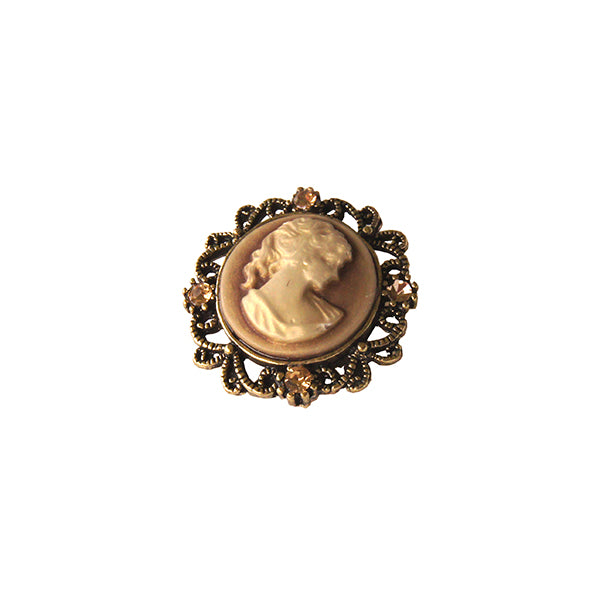 Round Brown Cameo Pin