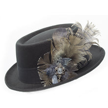 Load image into Gallery viewer, black pork pie with grey feather trim