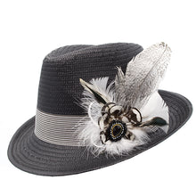 Load image into Gallery viewer, Black Trilby Striped Band