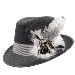 Black Trilby Striped Band