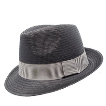 Load image into Gallery viewer, black trilby with white stripe band