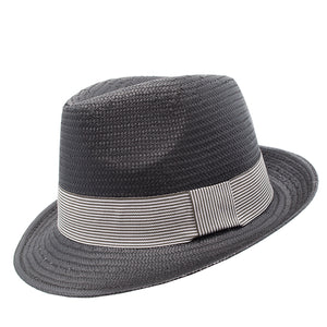 black trilby with white stripe band