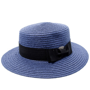 navy blue boater hat with black band